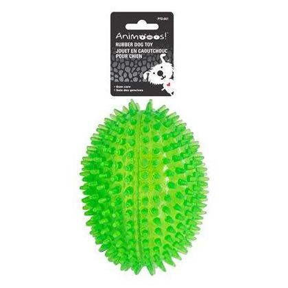 Spiked Dental Football Dog Squeaker Chew Training Toy - PAWS.