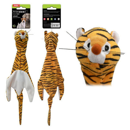 Floppy Unstuffed Plush Tiger Pet Toy with Squeaker, Chew Toy