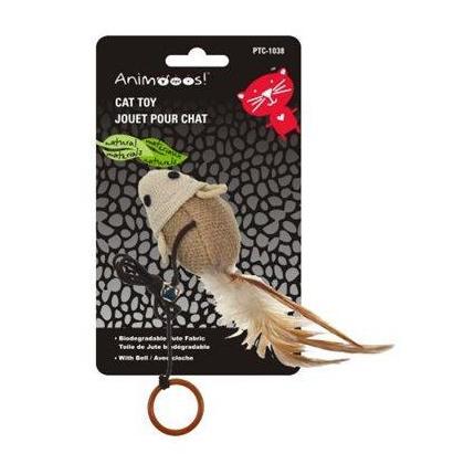Jouets de chat écologiques qui taquinent la souris avec une longue ficelle et une cloche