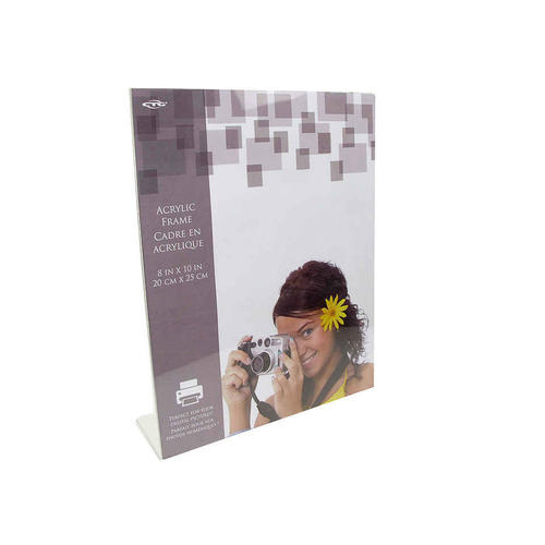8 X 10 Slanted Tabletop Clear Acrylic Picture Frame Holder Vertical