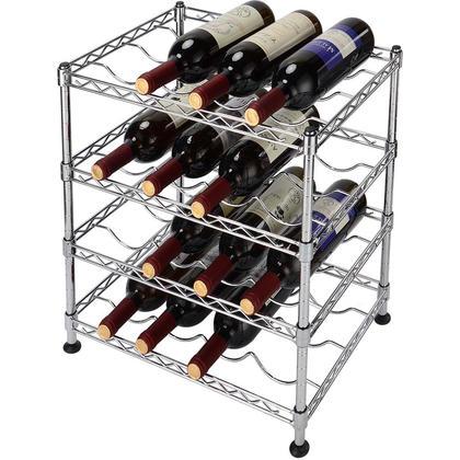 Wine Rack Storage Organizer 4-Tier 16 Bottles Wine Display Free Standing Bottles Shelf - SortWise™