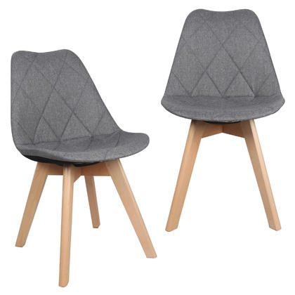Fabric Kitchen & Dining Chairs with Beech Wood Legs, Gray - Moustache@ - 2/Pack