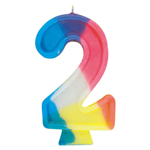 Birthday Candle Number 2 Rainbow 1Pc