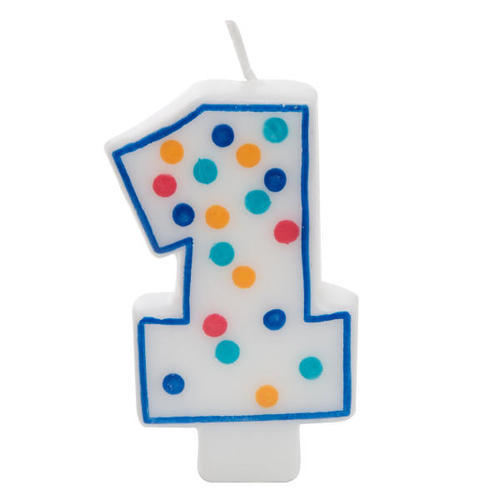 Birthday Candle White 5 Wax Multicolored Polka Dot Number 1 1Pc