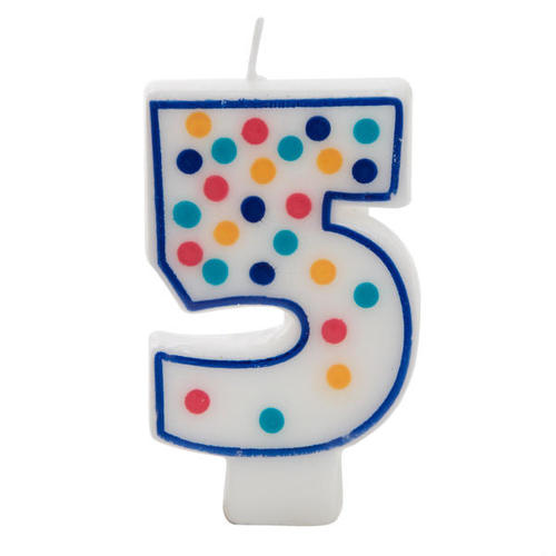 Birthday Candle White Multicolored Polka Dot Number 5 Wax 1Pc