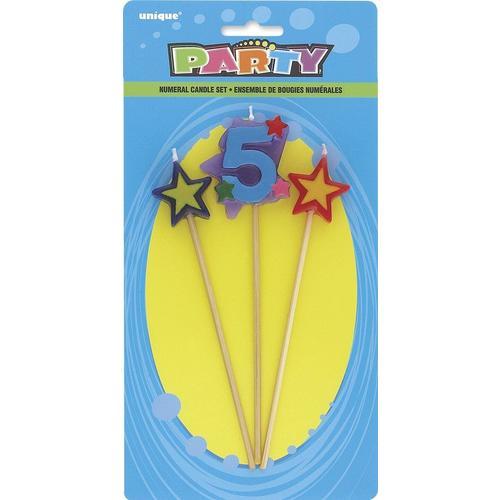 Star Birthday Candles Set Number 5 3Pcs