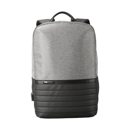 Anti-theft Waterproof Business Laptop Backpack with USB Charging Port, Grey - Moustache@