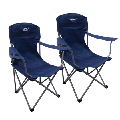 Breathable Mesh Polyester Fabric Camping Chair,  Navy- Moustache@ - 2/Pack