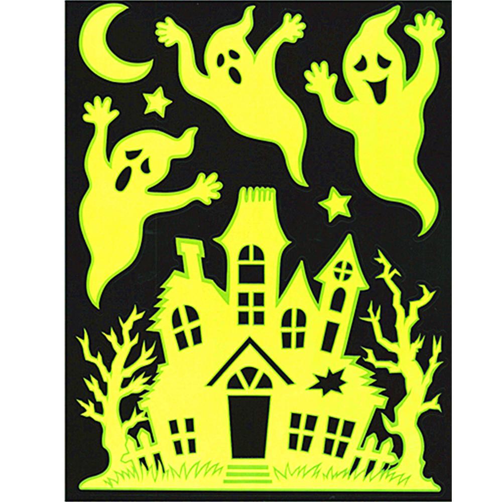 halloween window clings stickers glow-in-the-dark - bat, spider
