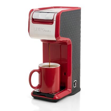 2 In 1 Single Serve Coffee Maker Brewer, Slim Design, Red - LIVINGbasics™