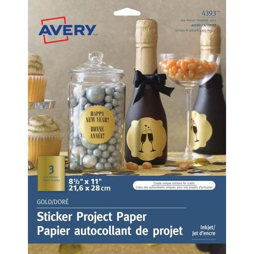avery glossy clear sticker project paper 8 1 2 x 11 package of 3