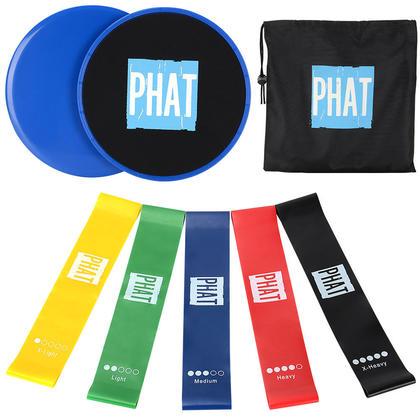 Disque de glisse Premium 2 Core + 5 bandes de boucles de résistance à l'exercice - PHAT ™