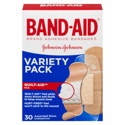 BAND-AID®QUILTVENT TECHNOLOGY, VARIETE PACK 30Pcs / Pack