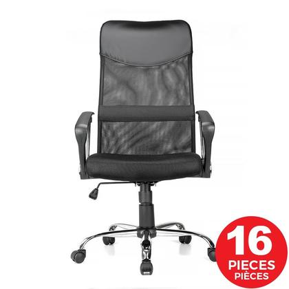 Adjustable Mesh Office Chair with Fixed Arms ,  High Back ,  Black - Moustache@ - 16/Pack
