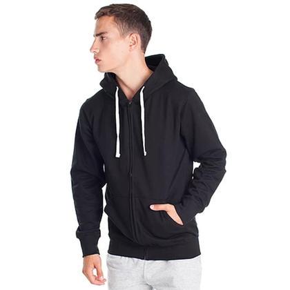 Chandail à capuchon de coton mélangé avec zip intégral et poche kangourou Noir LIVINGbasics ™ - L
