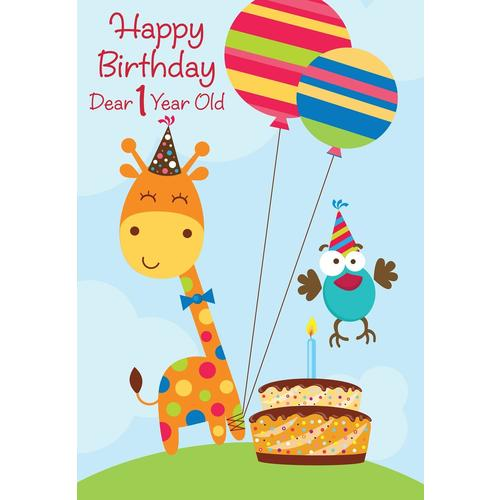 1st Birthday Greeting Card For Boy Or Girl 5 3 8 X 7 4