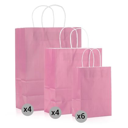 Ensemble de 14 sacs de papier kraft , petits, moyens et grands formats, rose - LIVINGbasics ™