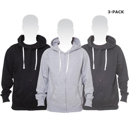 Cotton blend hoodie with Full-length zip & pocket - M, Grey Black & Charcoal 3-Pack - LIVINGbasics™