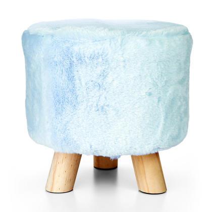 Birthday Sale 3-pattes Tabouret rond décoratif en fausse fourrure, bleu - LIVINGbasics ™