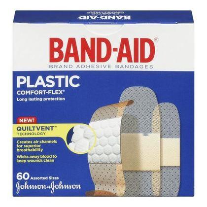 Band-Aid Comfort-Flex Bandages en plastique 60 unités / paquet, tailles variées