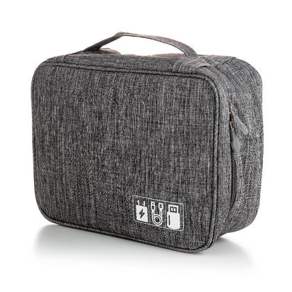 Portable Travel Digital Electronics Accessories Storage Organizer Bag, Grey - LIVINGbasics™