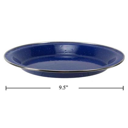 """Plaque émaillée de camping en plein air bleue, 9,5"""" diamètre x 1,18"""" hauteur"""