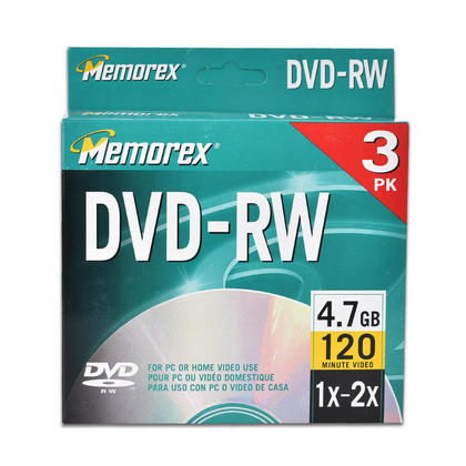 Memorex® DVD-RW Disc 4.7GB 120 Minutes with Individual Sealed Jewel Case (3 Pack)