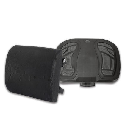 Ergonomic Footrest and Lumbar Support Pillow Combo, Black - Moustache®