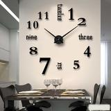 Modern Frameless 3D DIY Wall Clock, Silent Movement