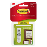 Command™ Picture Hanging Strips, Small, White, Holds 4 lbs, 16/Pack
