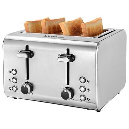 4-Slice Toaster, Kitchen Tools Classic Metal Brushed Stainless Steel, 7-setting - LIVINGbasics™
