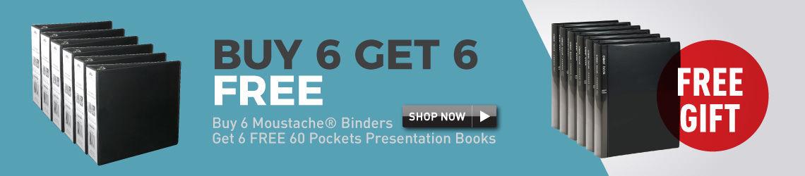 Buy 6 Moustache Binder Get 6 Free 60 Pockets Presentation books