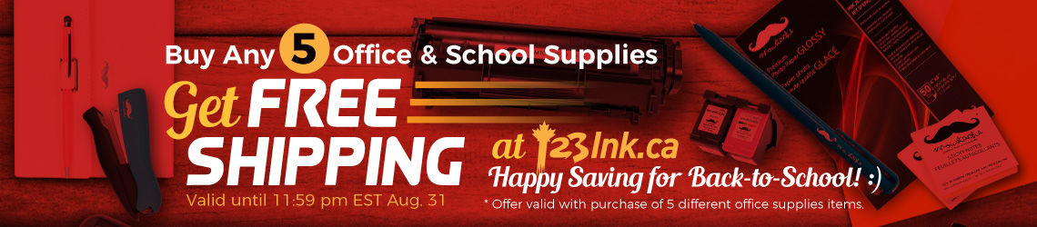 Get Free Shipping when buy any 5 office & School Supplies items at 123Ink.ca