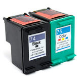Remanufactured HP 74 CB335WN HP 75 CB337WN Black and Color Ink Cartridge Combo - G&G™