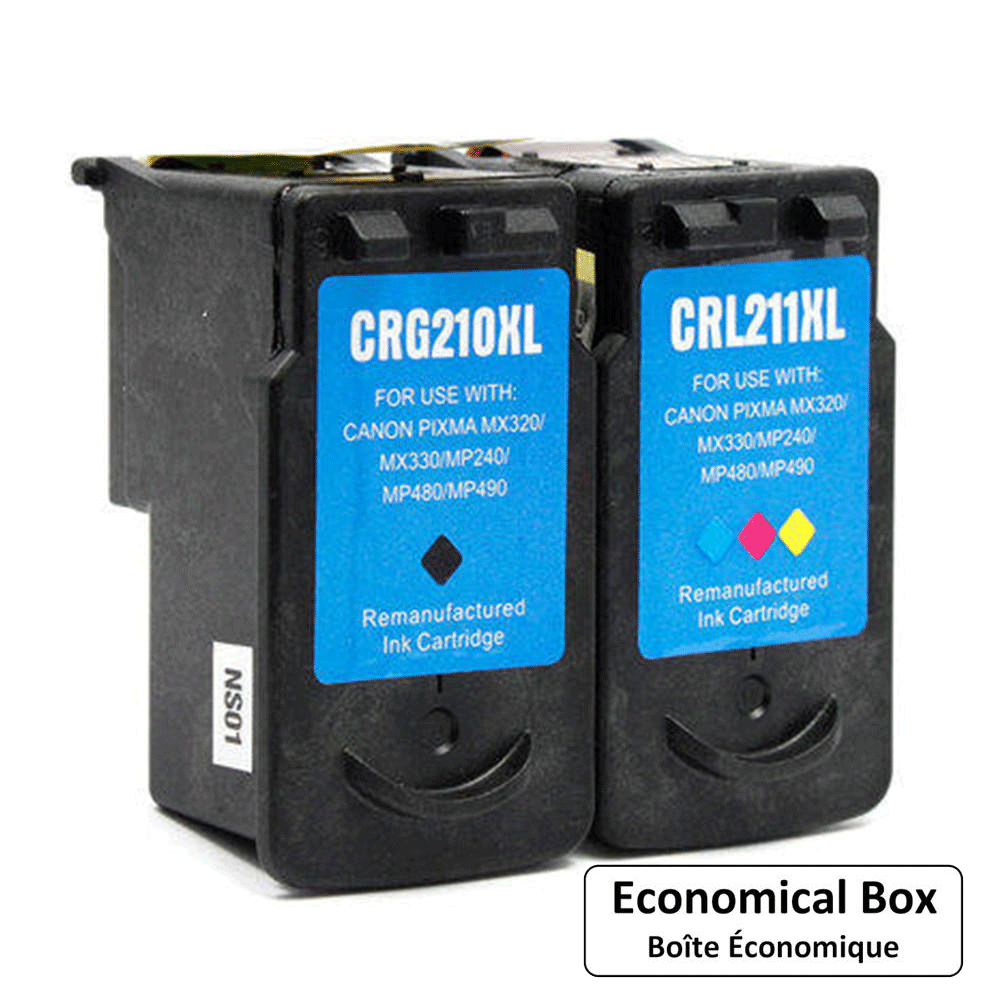 Canon PG210XL CL211XL Remanufactured Black and Color Ink Cartridge Combo - Economical Box
