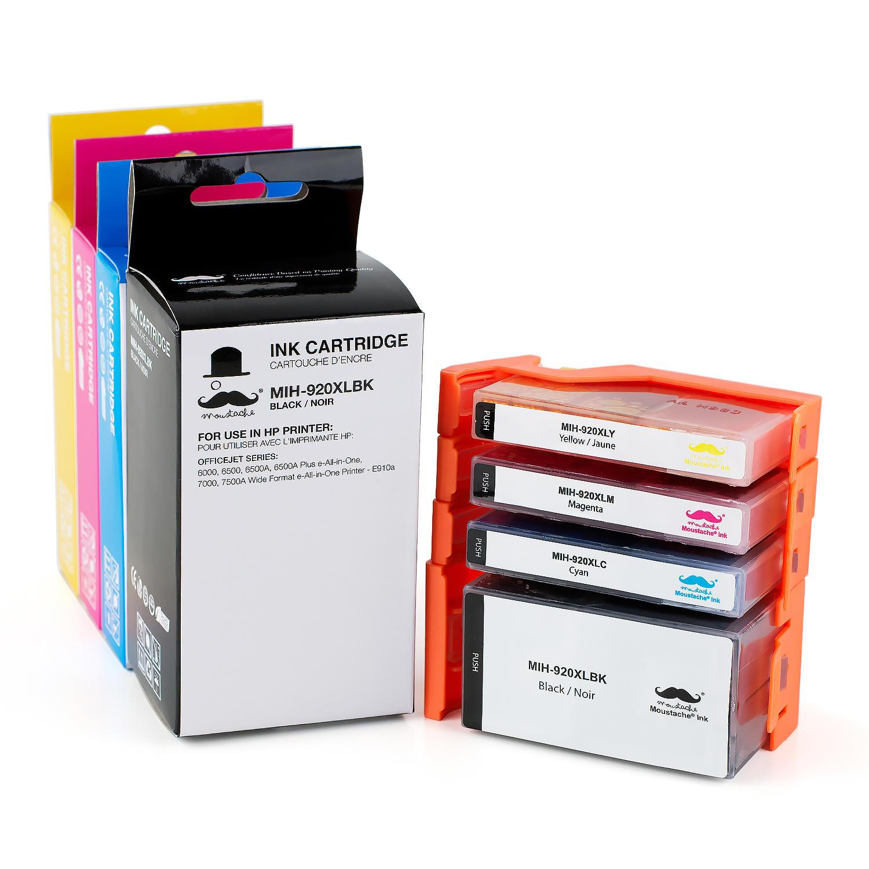 Compatible HP 920XL Ink Cartridge Combo High Yield BK/C/M/Y - Moustache®