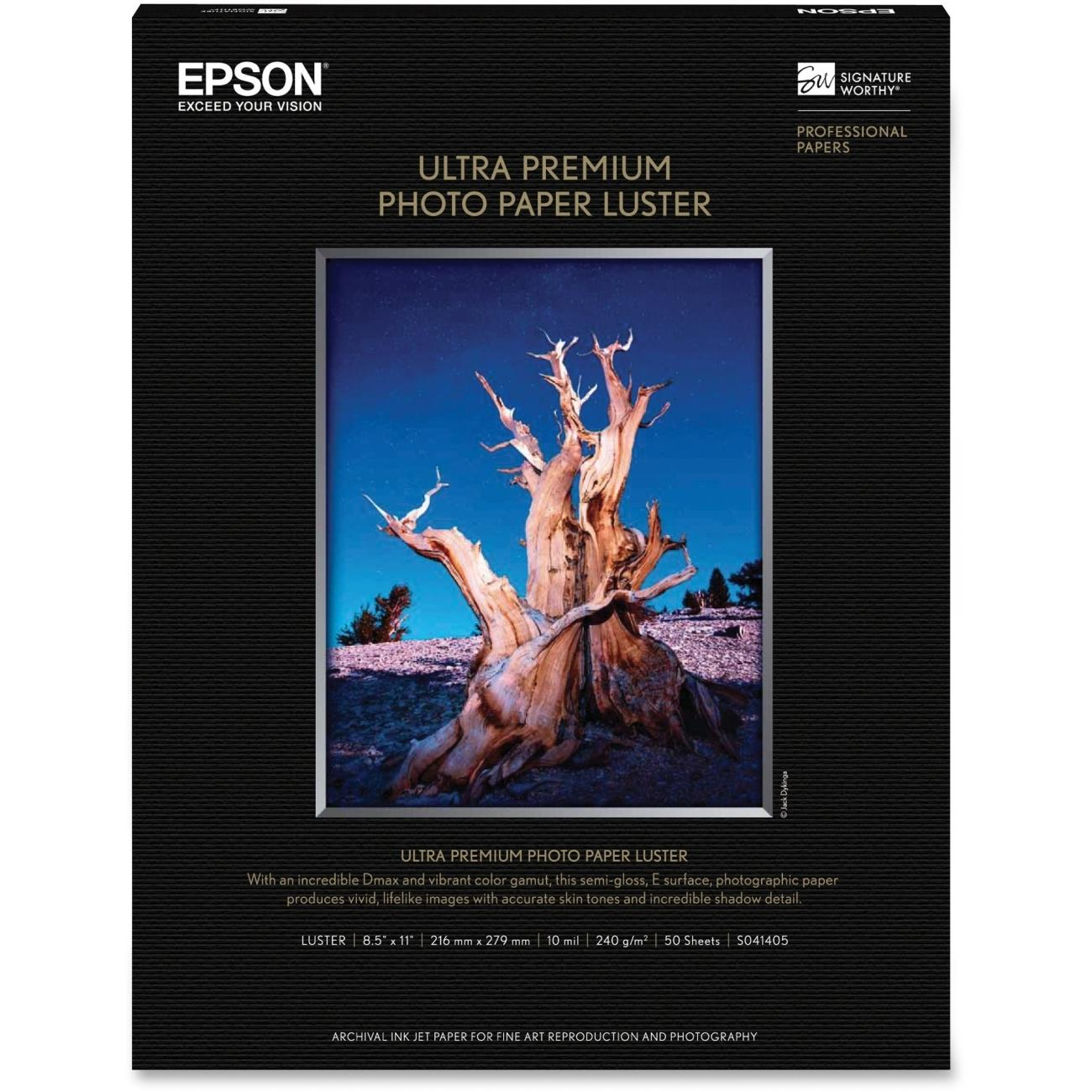 EPSON S041405 50 Sheets Ultra Premium Luster Photo Paper, 8.5 x 11