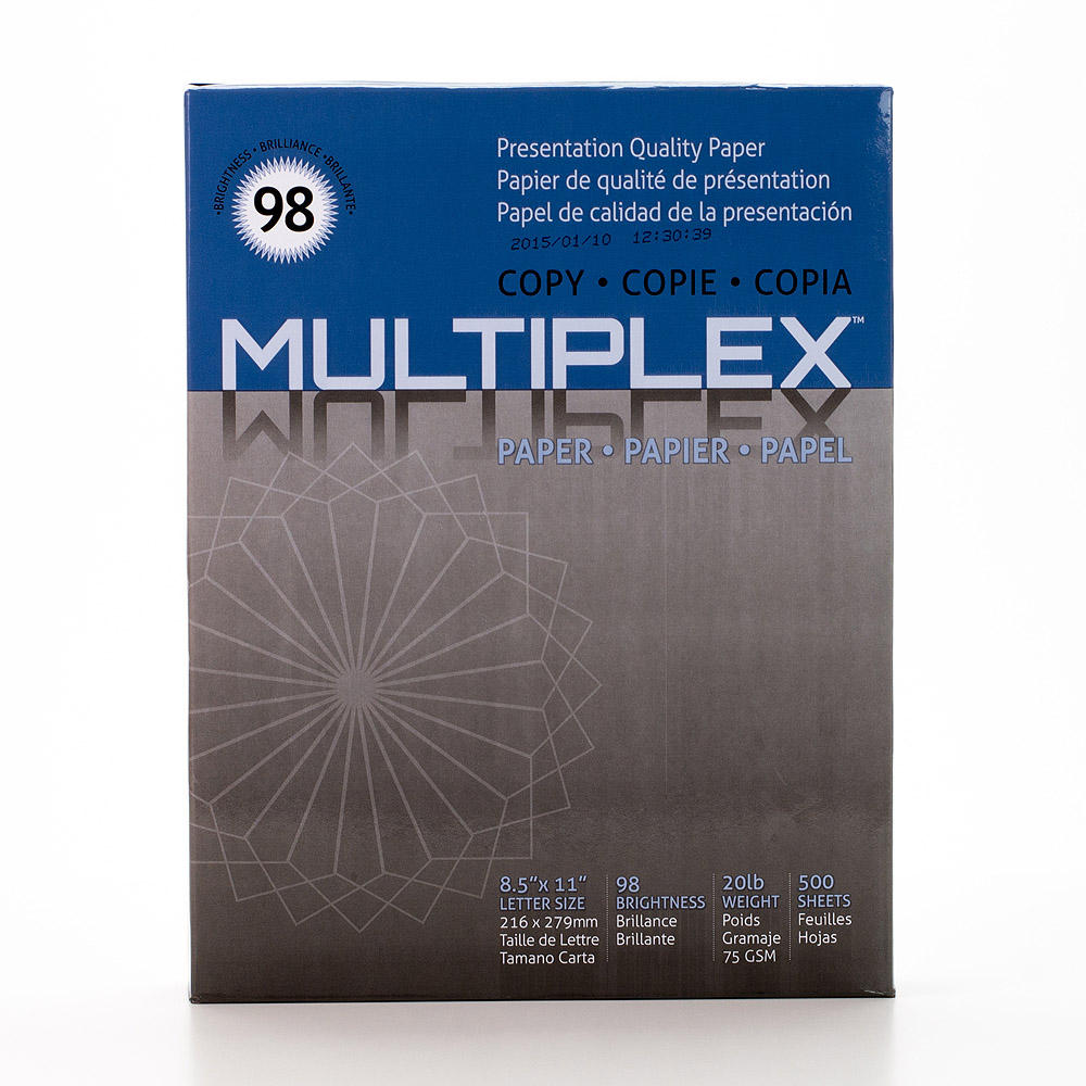 "Multiplex High Bright Copy Paper - Letter size, 20lbs, 8.5"" x 11"""