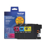 Brother LC105 3PKS Original Color Ink Cartridge Combo Extra High Yield C/M/Y