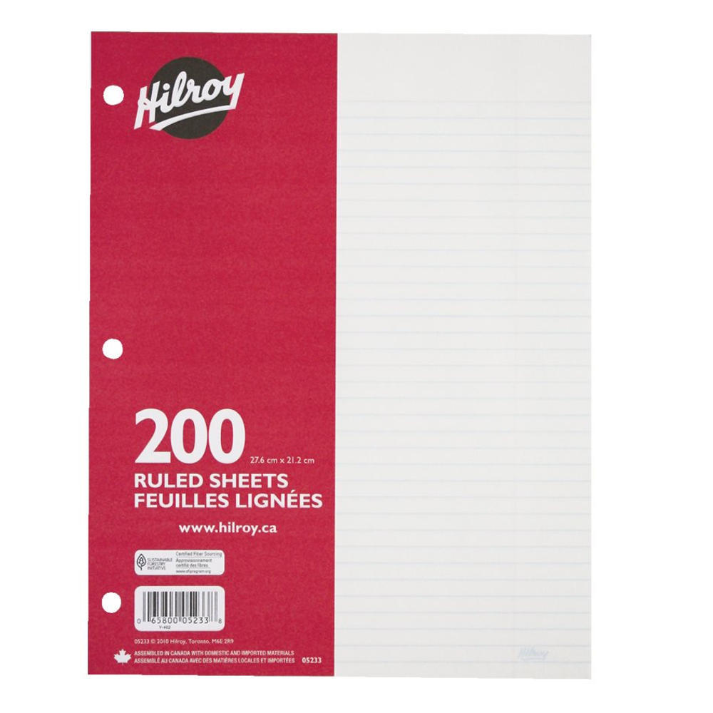 Hilroy 7mm Ruled Loose Leaf Sheets, 10.87 x 8.37, 200 Pages, 3-Hole Punched