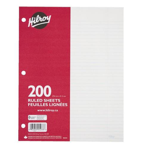 Hilroy 174 7mm Ruled Loose Leaf Sheets 10 87 Quot X 8 37 Quot 200