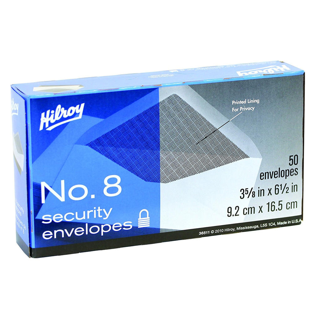 "Cheap ""Hilroy No. 8 Bluelined White Wove Box Envelopes, 3.63"""" x 6.50"""", Gummed, 50-Count"""