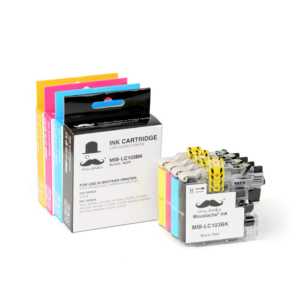 Brother LC103 Compatible Ink Cartridge Combo High Yield BK/C/M/Y - 4/Pack - Moustache®