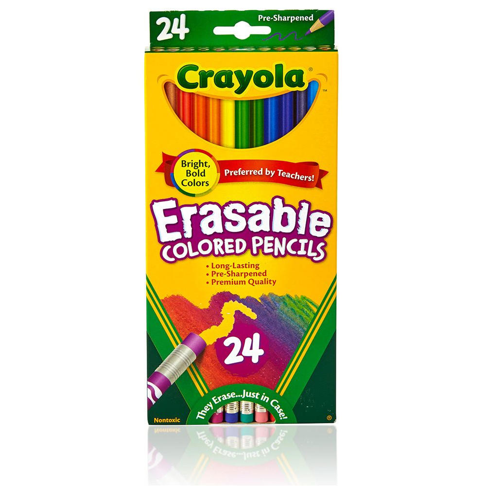 Cheap Crayola Erasable Coloured Pencils - 24 Colours