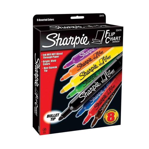 Sharpie® Flip Chart Markers, Bullet Point, 8 Colors, 8/Set