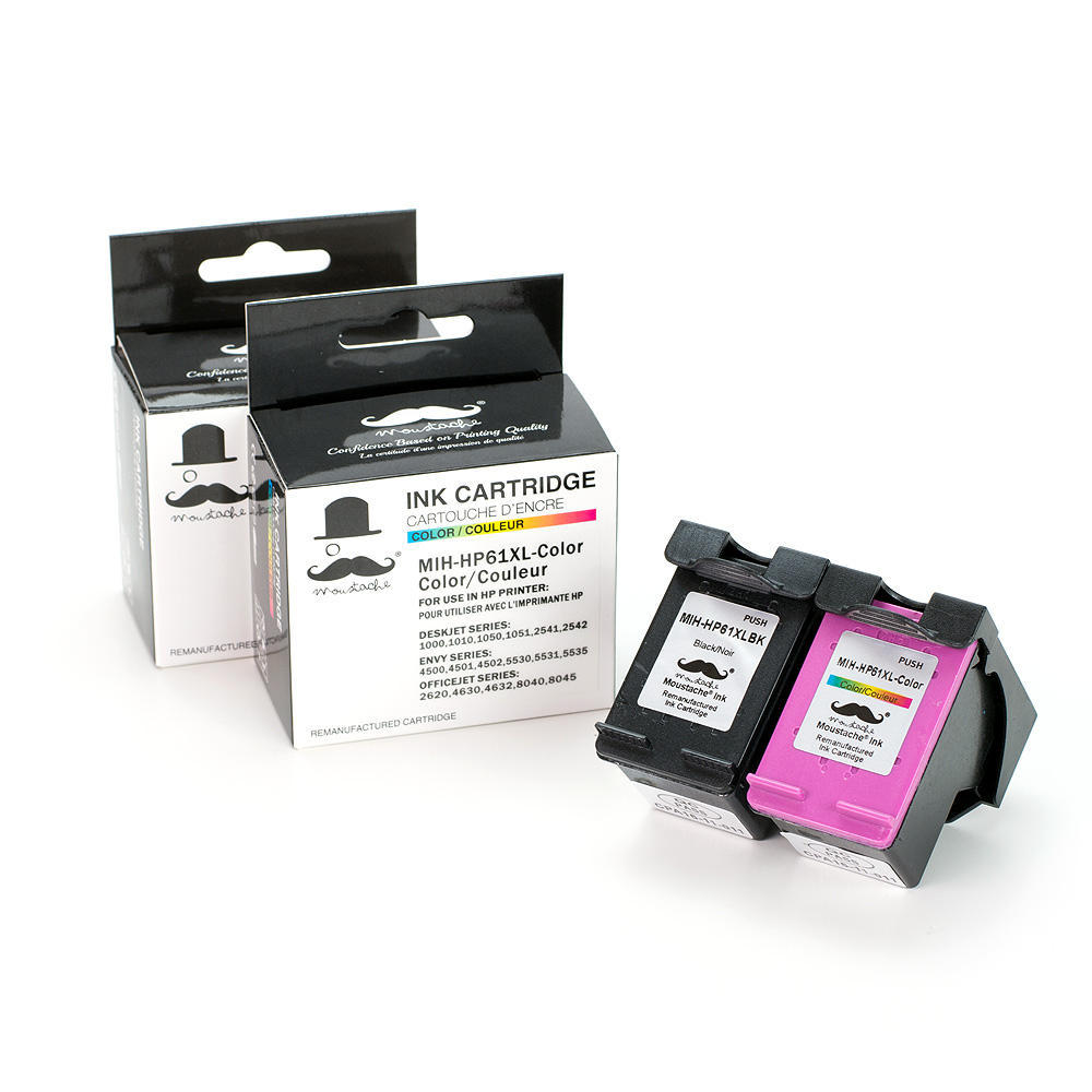 Remanufactured HP 61XL Ink Cartridges Combo Set High Yield - Moustache®