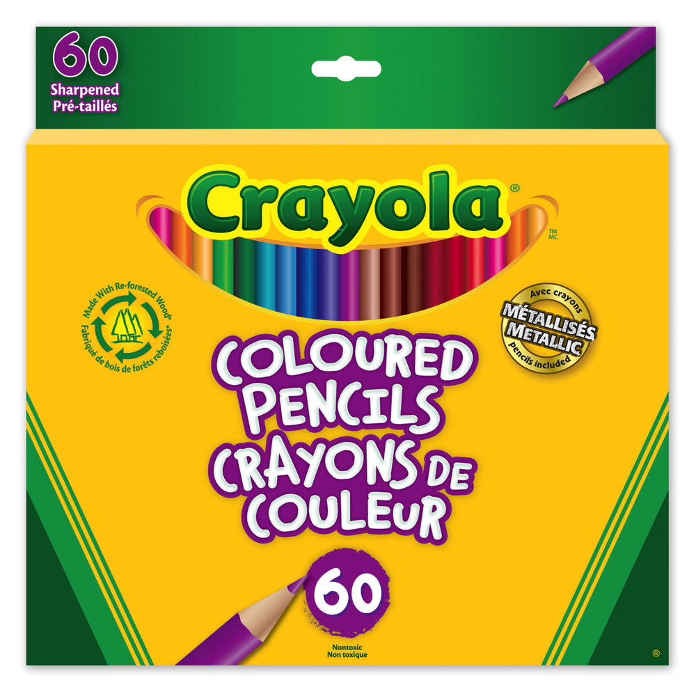 Crayola® Long Sharpened Coloured Pencils - 60 Colours ...