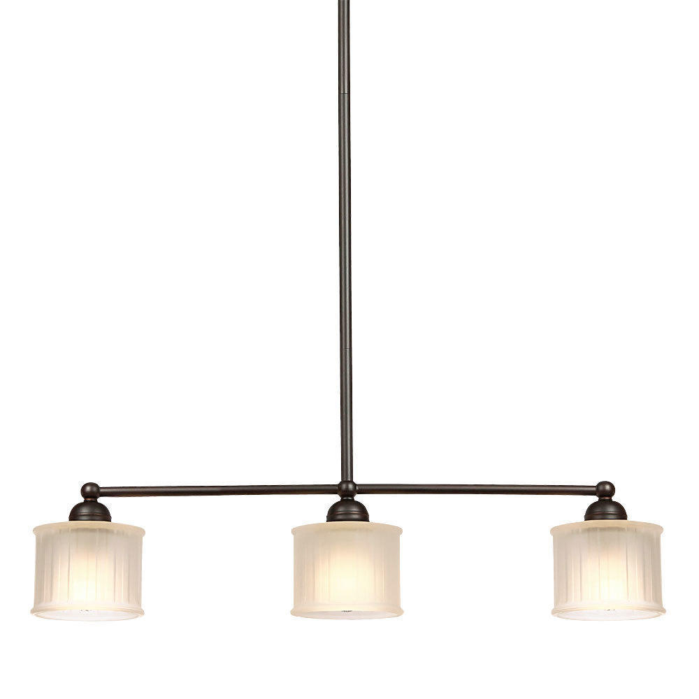 drum shade 3 light linear chandelier black iron arms pendant retro style american traditional style