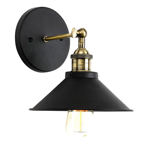 Vintage Industrial Lighting Black Painting 1 Light Wall