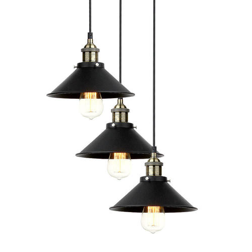 vintage industriel 3 lumi res multi lampe de suspension. Black Bedroom Furniture Sets. Home Design Ideas